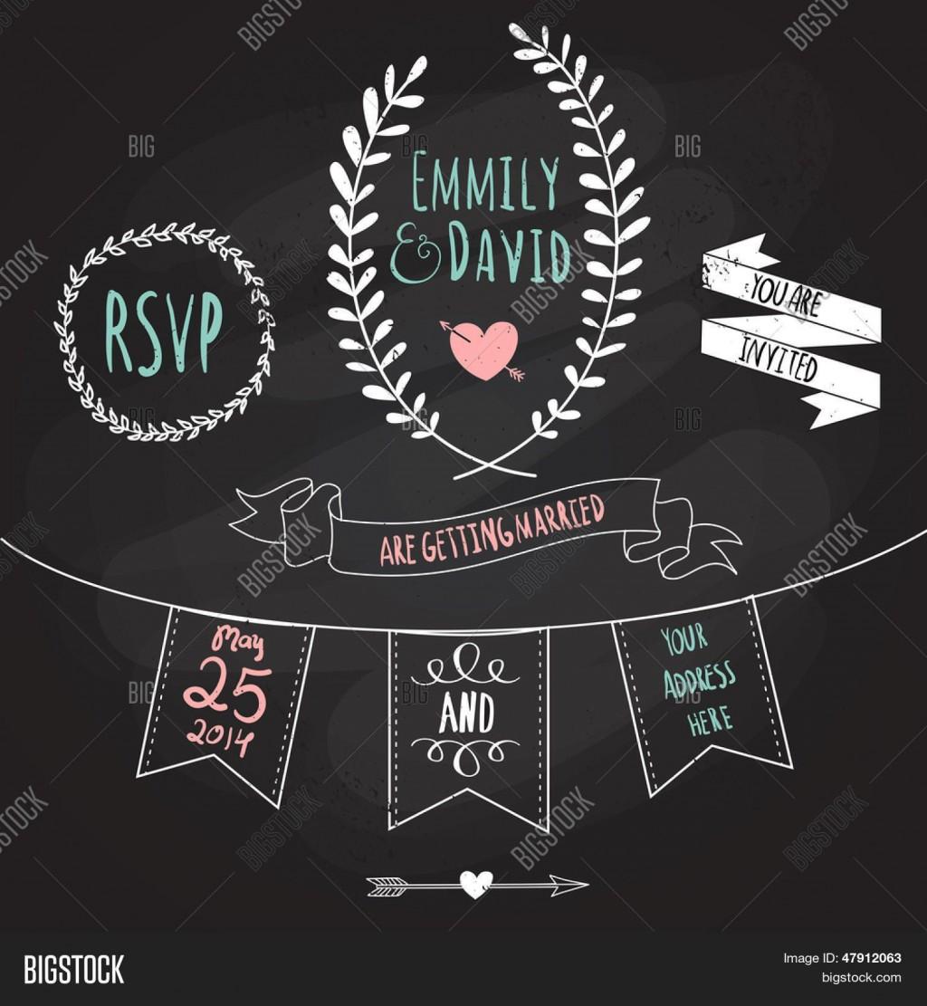 003 Simple Chalkboard Invitation Template Free Sample  Wedding EditableLarge