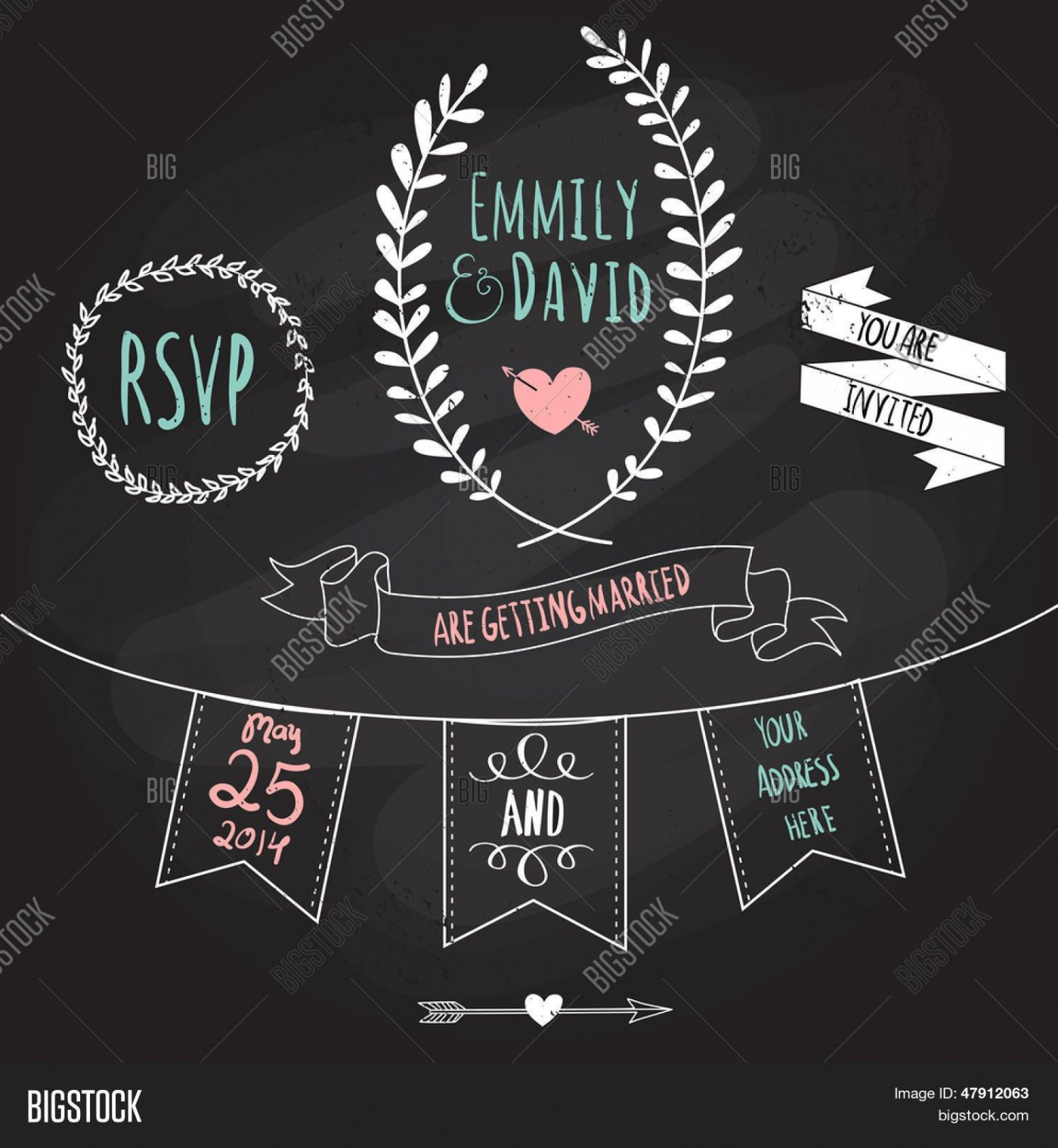 003 Simple Chalkboard Invitation Template Free Sample  Download Wedding1400