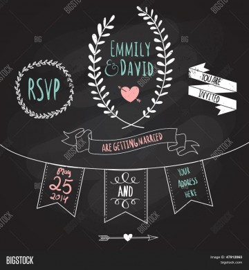 003 Simple Chalkboard Invitation Template Free Sample  Download Wedding360