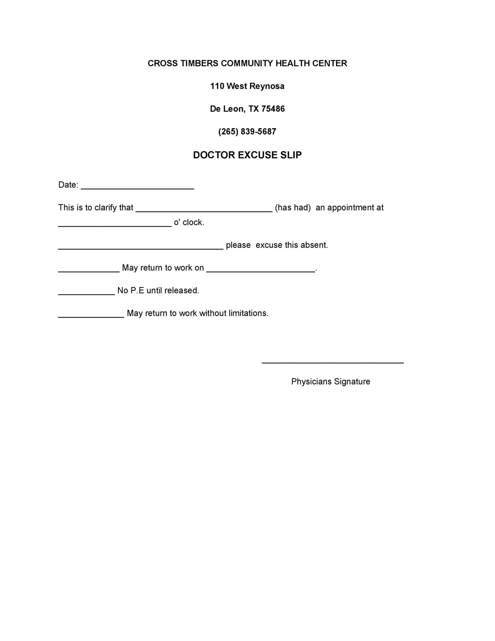 003 Simple Doctor Note For Missing Work Template Example  Doctor'1920