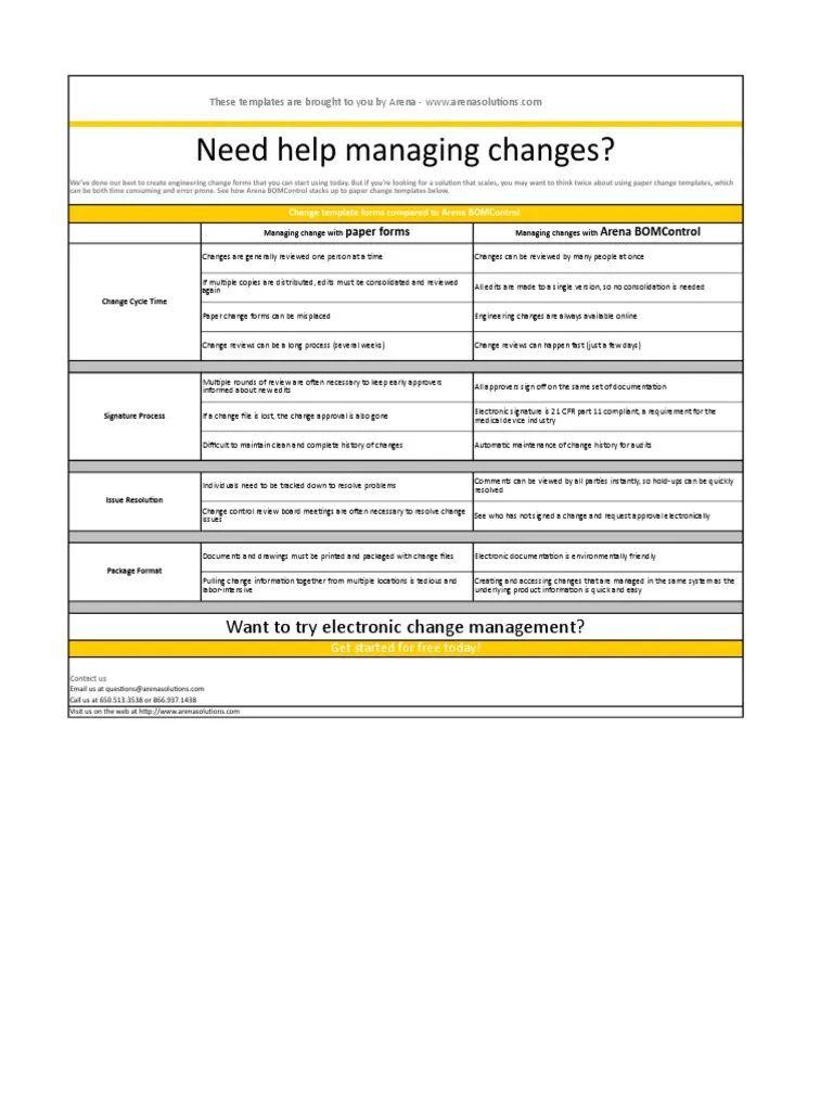 003 Simple Engineering Change Order Template Sample Full