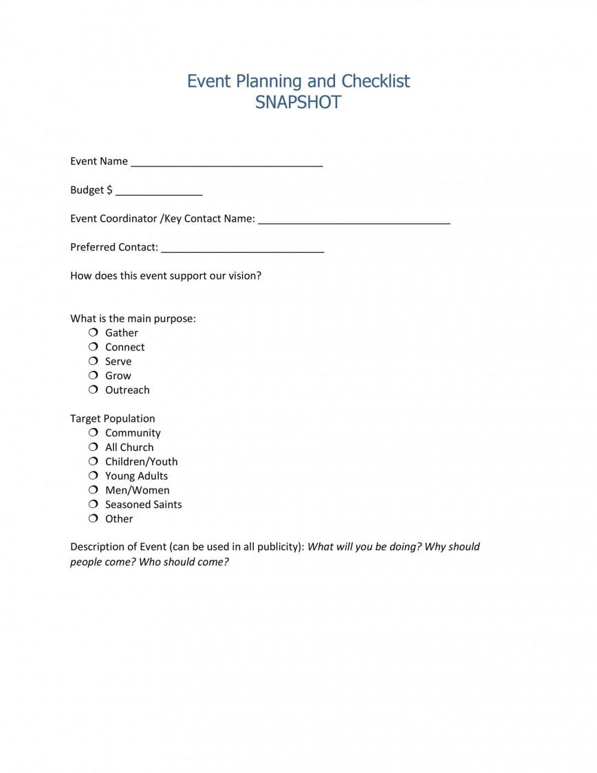 003 Simple Event Planning Worksheet Template Inspiration  Checklist Microsoft Sample