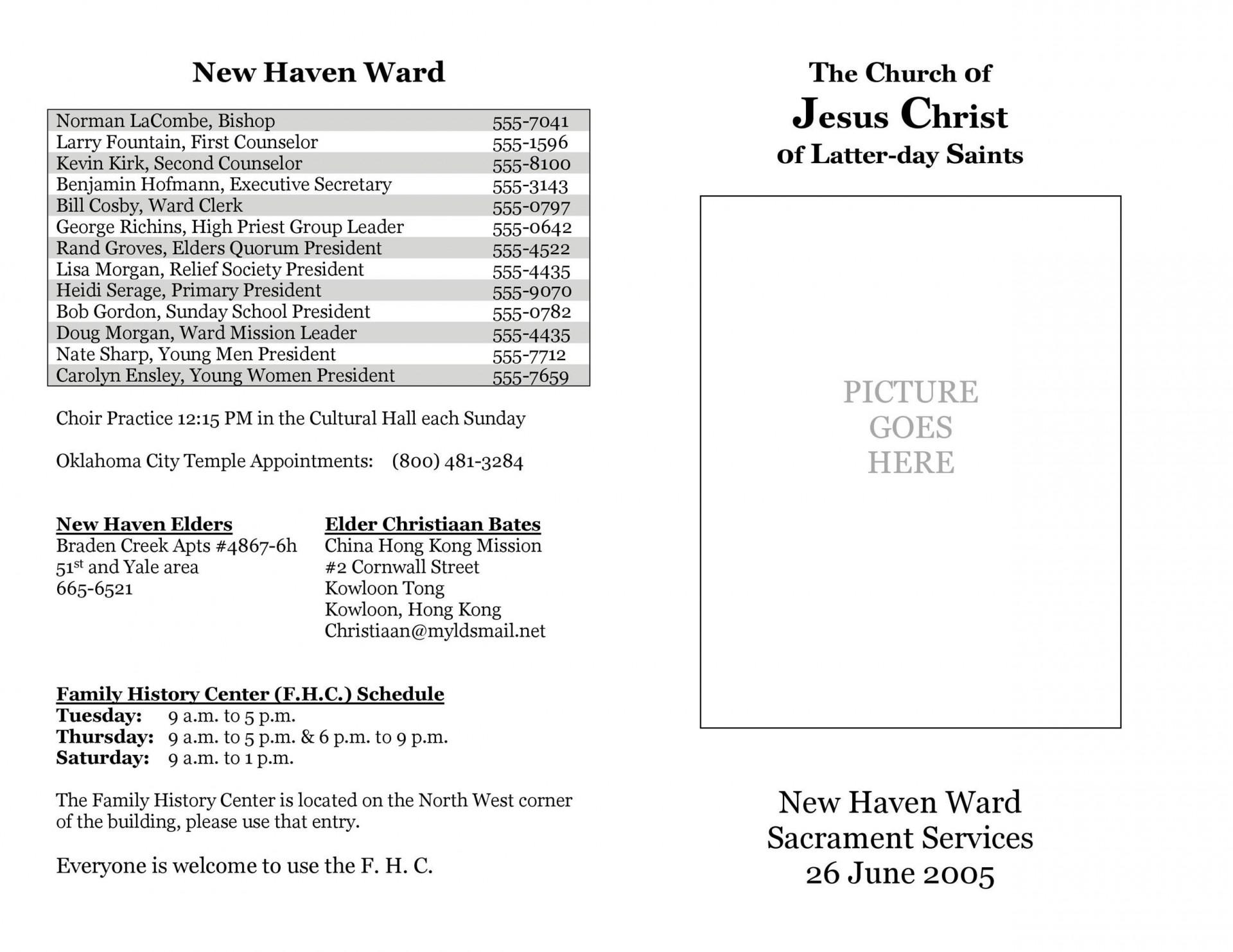 003 Simple Free Church Program Template Download High Resolution  Downloads Bulletin1920