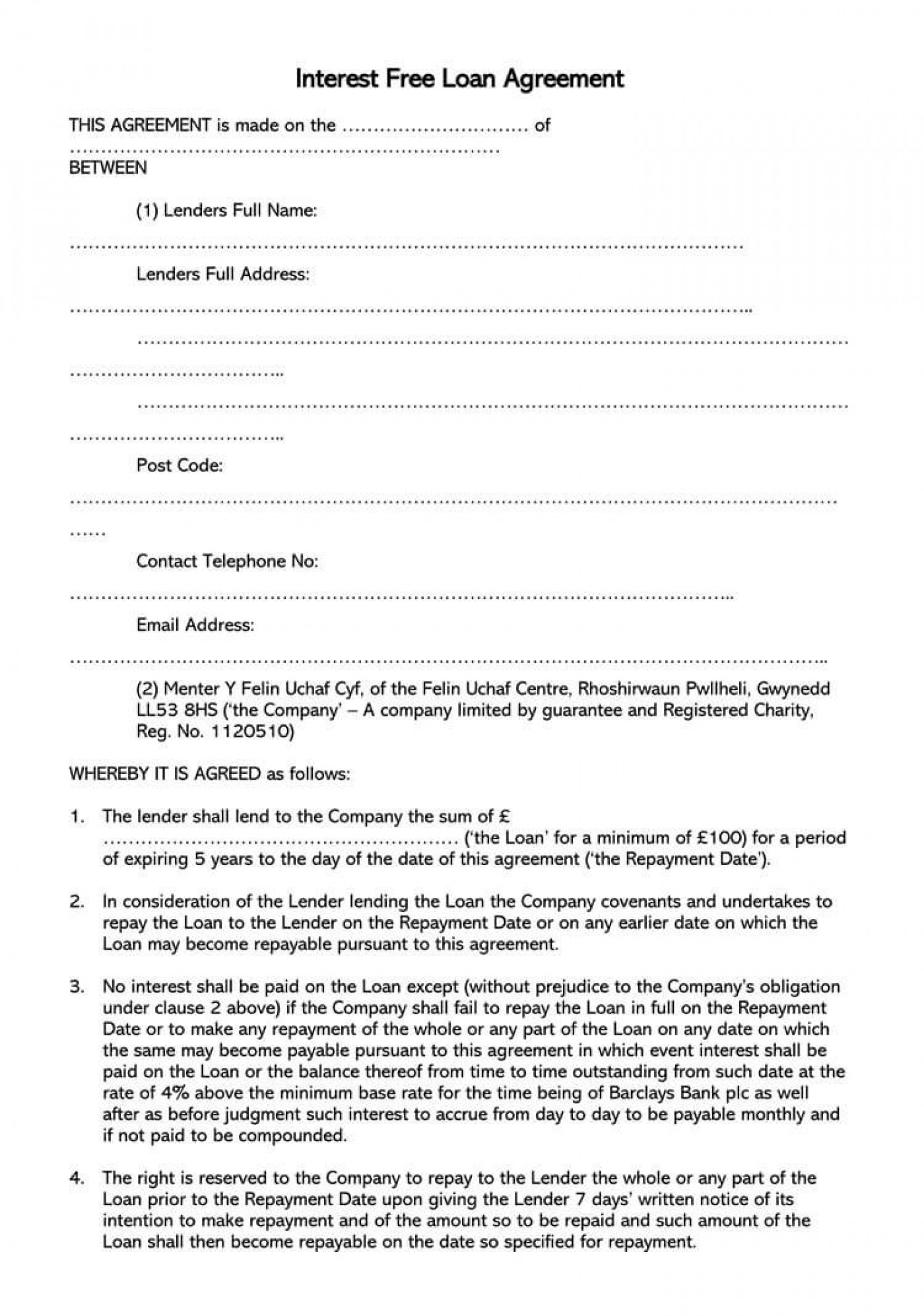 003 Simple Free Loan Agreement Template Example  Ontario Word Pdf Australia South Africa1400