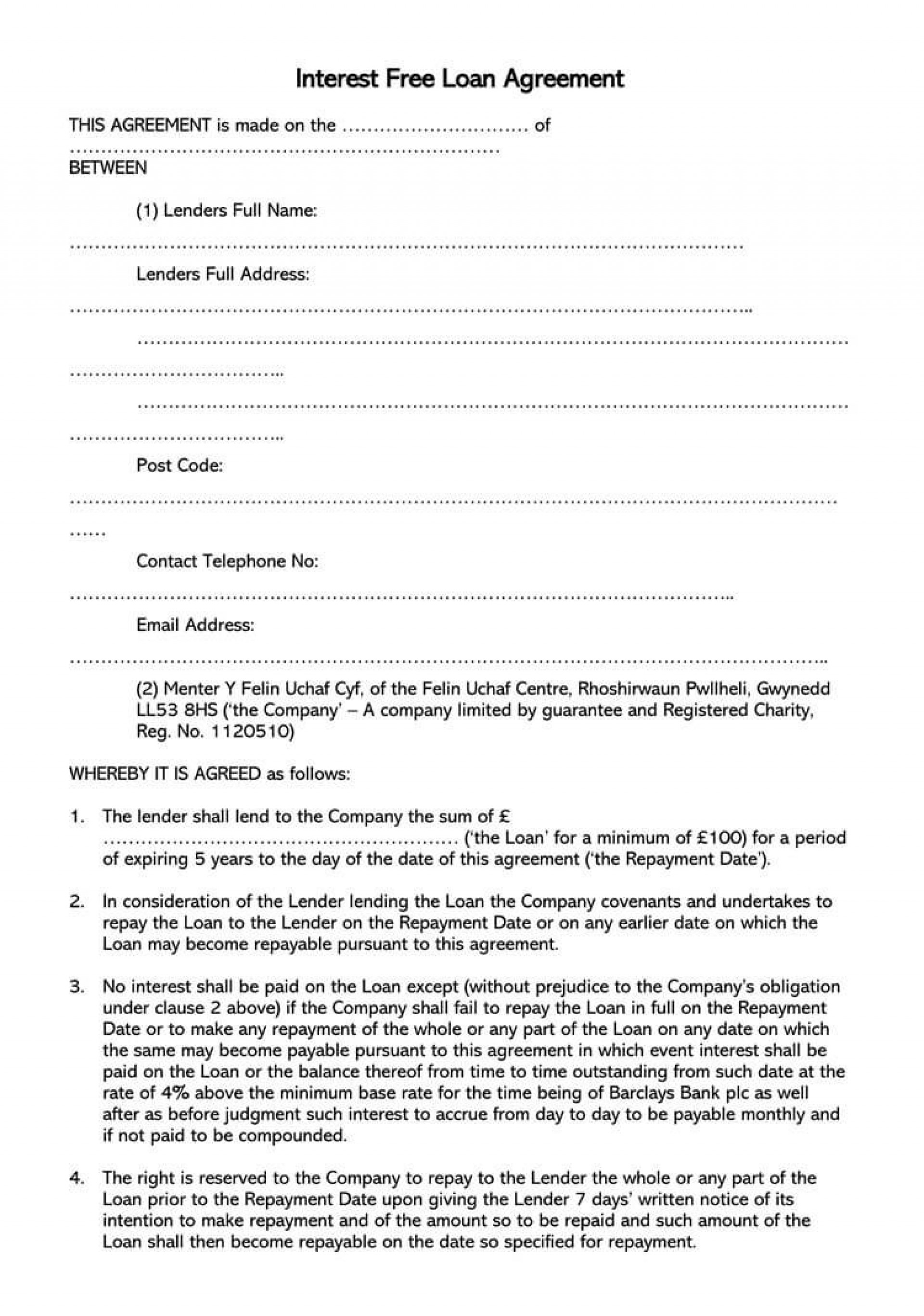 003 Simple Free Loan Agreement Template Example  Word Uk South African Interest1920