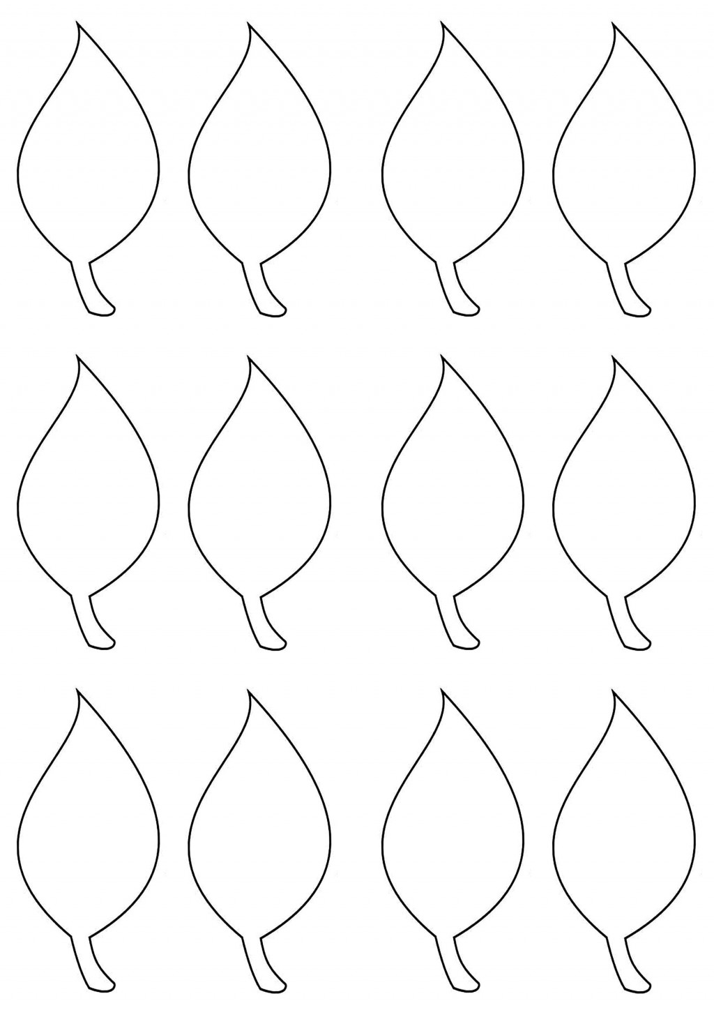 003 Simple Leaf Template With Line Sample  Fall Printable BlankLarge