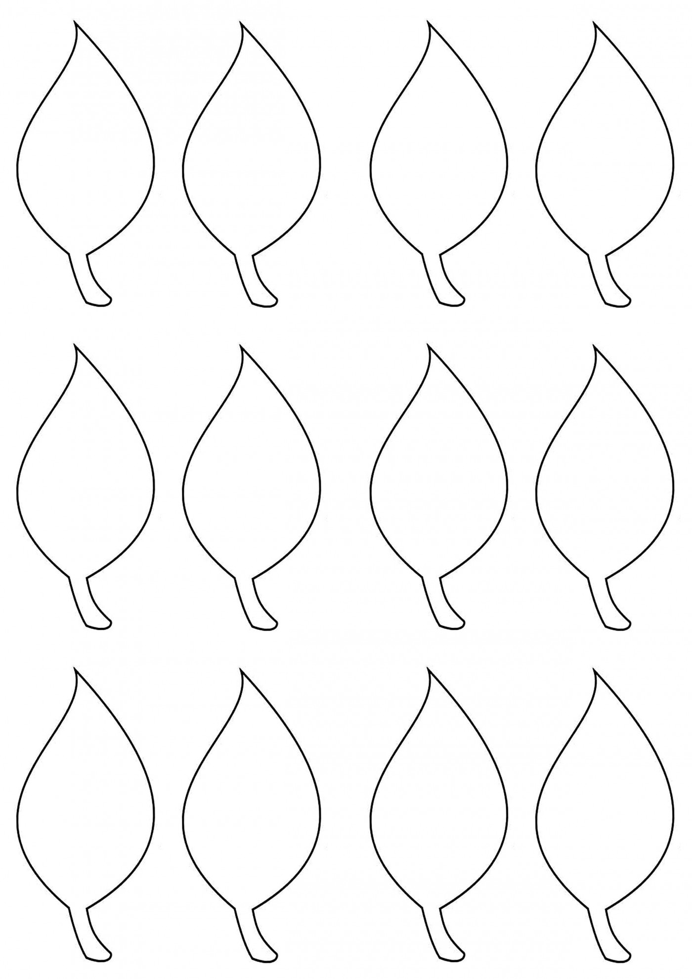 003 Simple Leaf Template With Line Sample  Fall Printable Blank1400