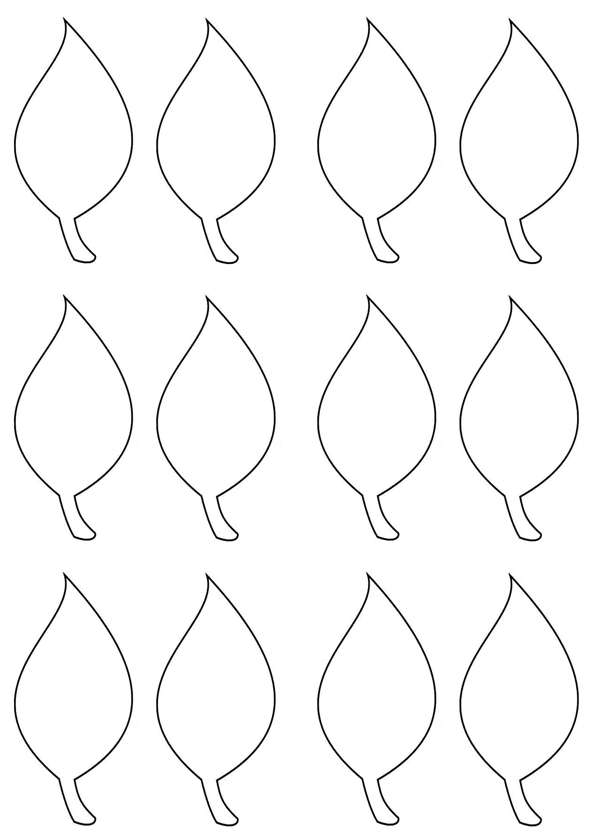 003 Simple Leaf Template With Line Sample  Fall Printable BlankFull