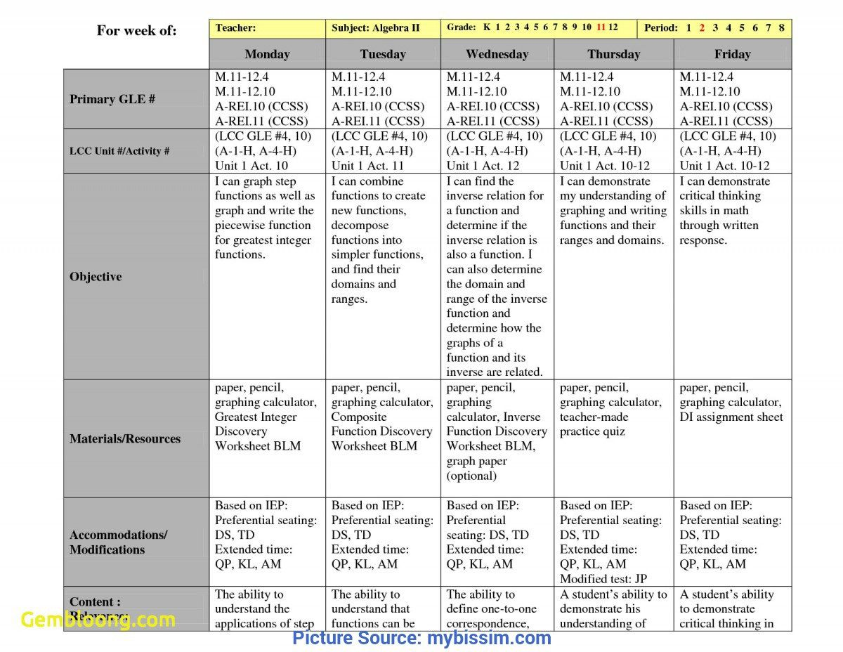 003 Simple Lesson Plan Template High School Math Idea  Example For FreeFull