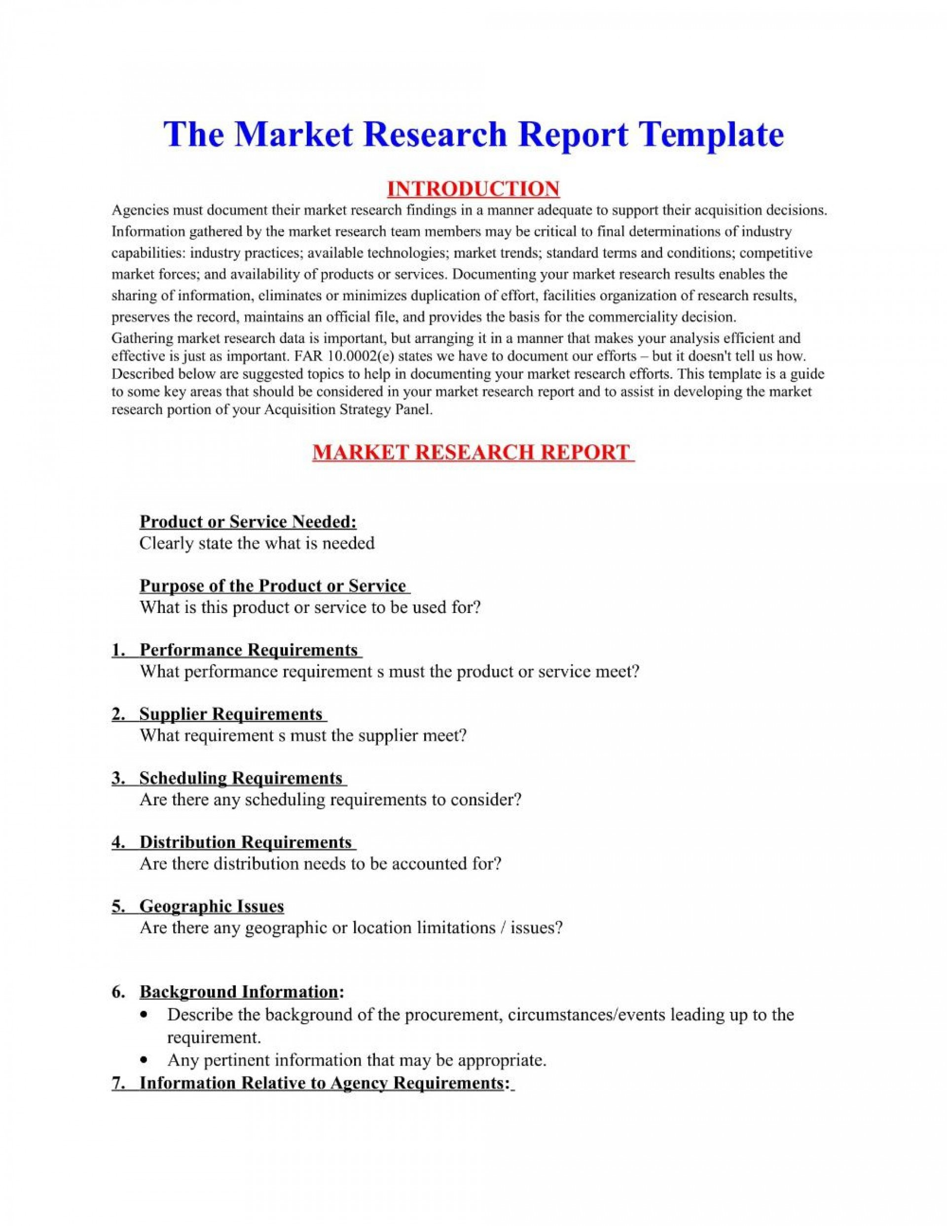 003 Simple Market Research Report Template Idea  Excel Sample Free1920