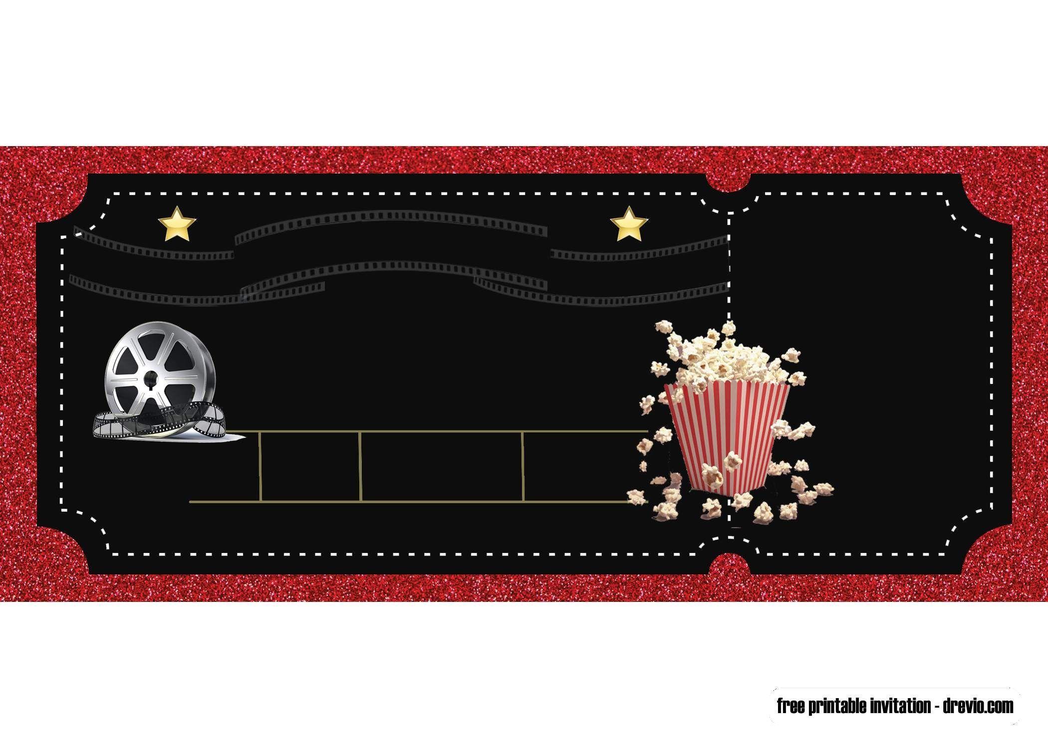 003 Simple Movie Ticket Invitation Template Sample  Blank Free Download Editable PrintableFull