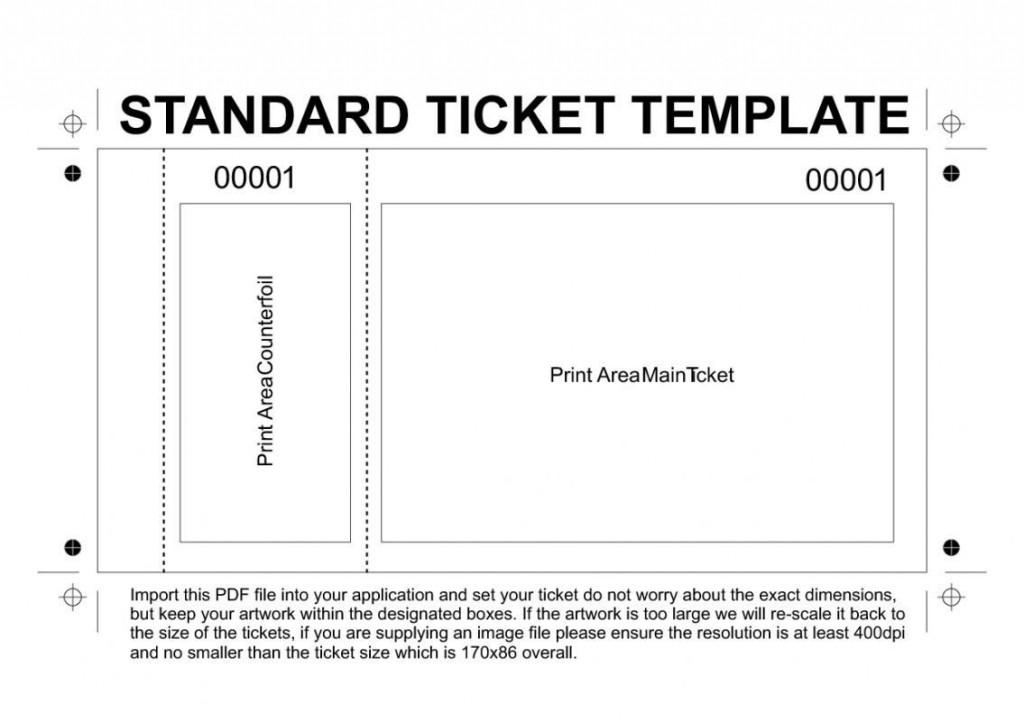 003 Simple Printable Raffle Ticket Template Concept  Free With Number ExcelLarge