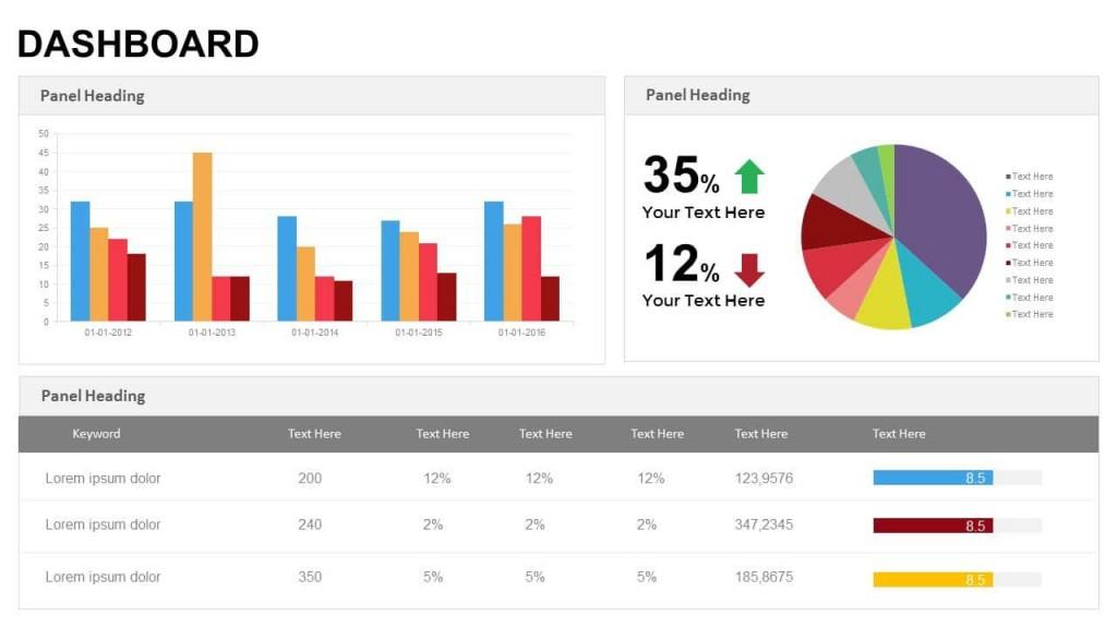 003 Simple Project Management Dashboard Powerpoint Template Free Download High Def Large