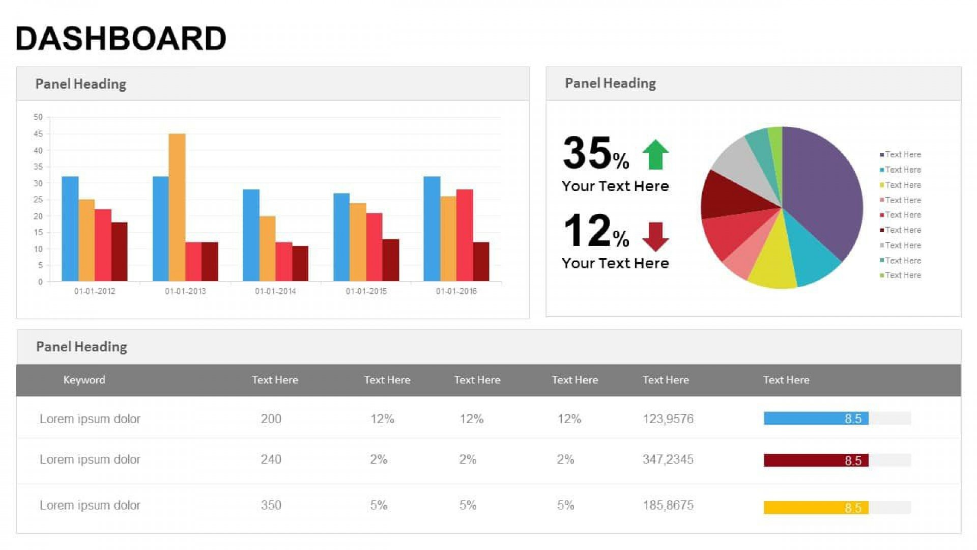 003 Simple Project Management Dashboard Powerpoint Template Free Download High Def 1920