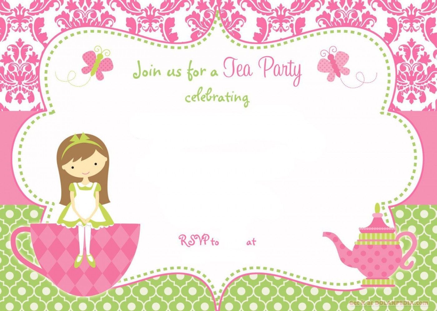 003 Simple Tea Party Invitation Template Free High Def  Vintage Princes Printable1400
