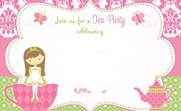 003 Simple Tea Party Invitation Template Free High Def  Afternoon Invite Download
