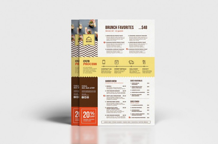 003 Simple To Go Menu Template High Def  Tri Fold Psd Free728