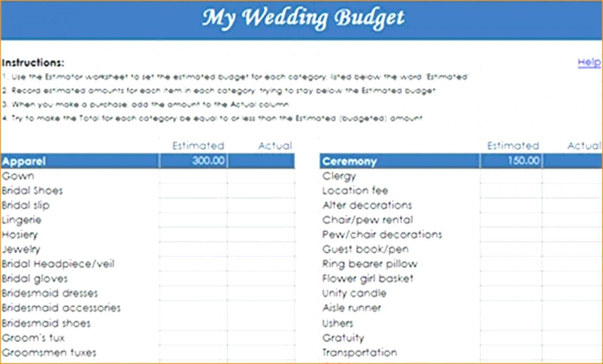 003 Simple Wedding Budget Template Excel High Resolution  South Africa Sample Spreadsheet1920