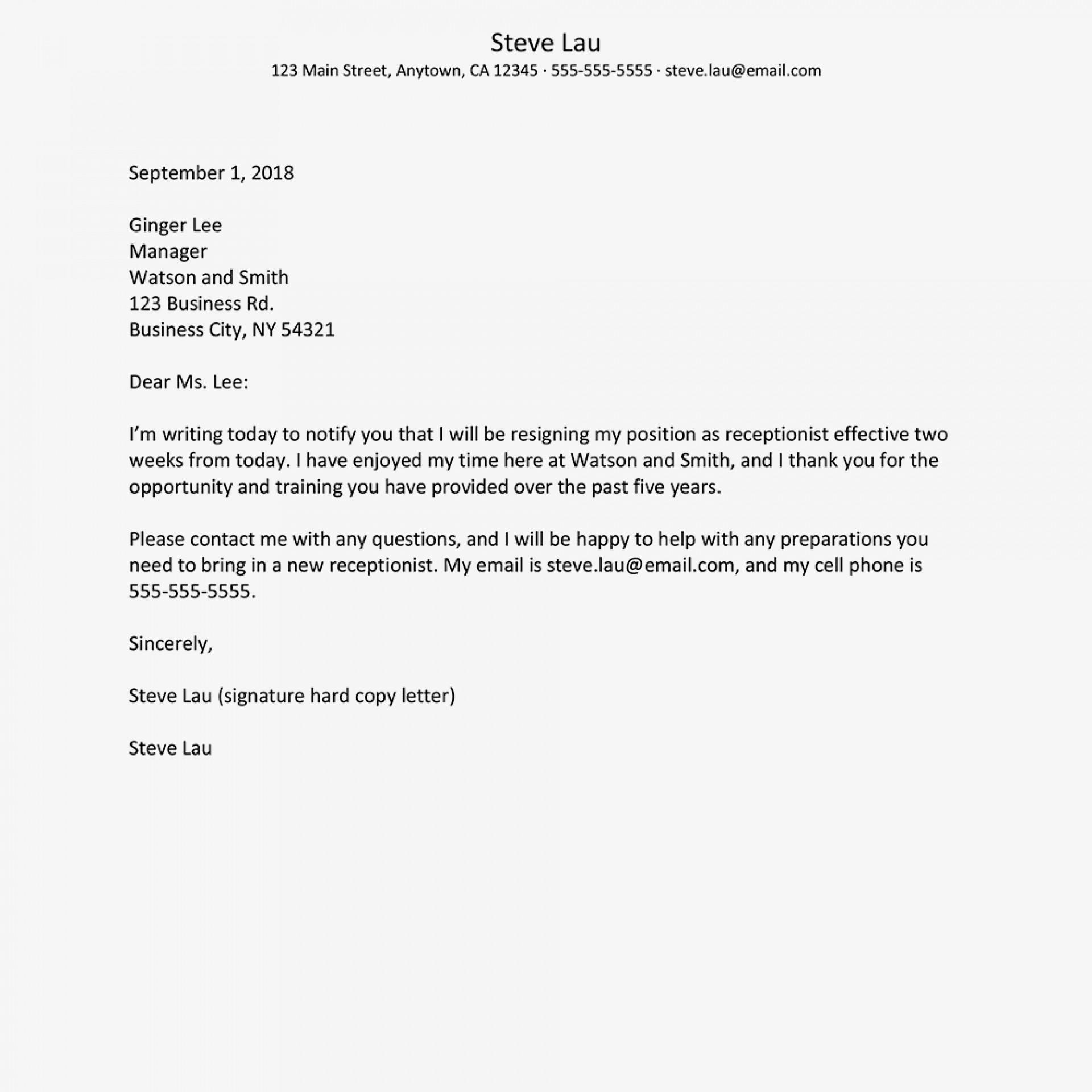 003 Singular 2 Week Notice Template Word High Resolution  Free Microsoft1920