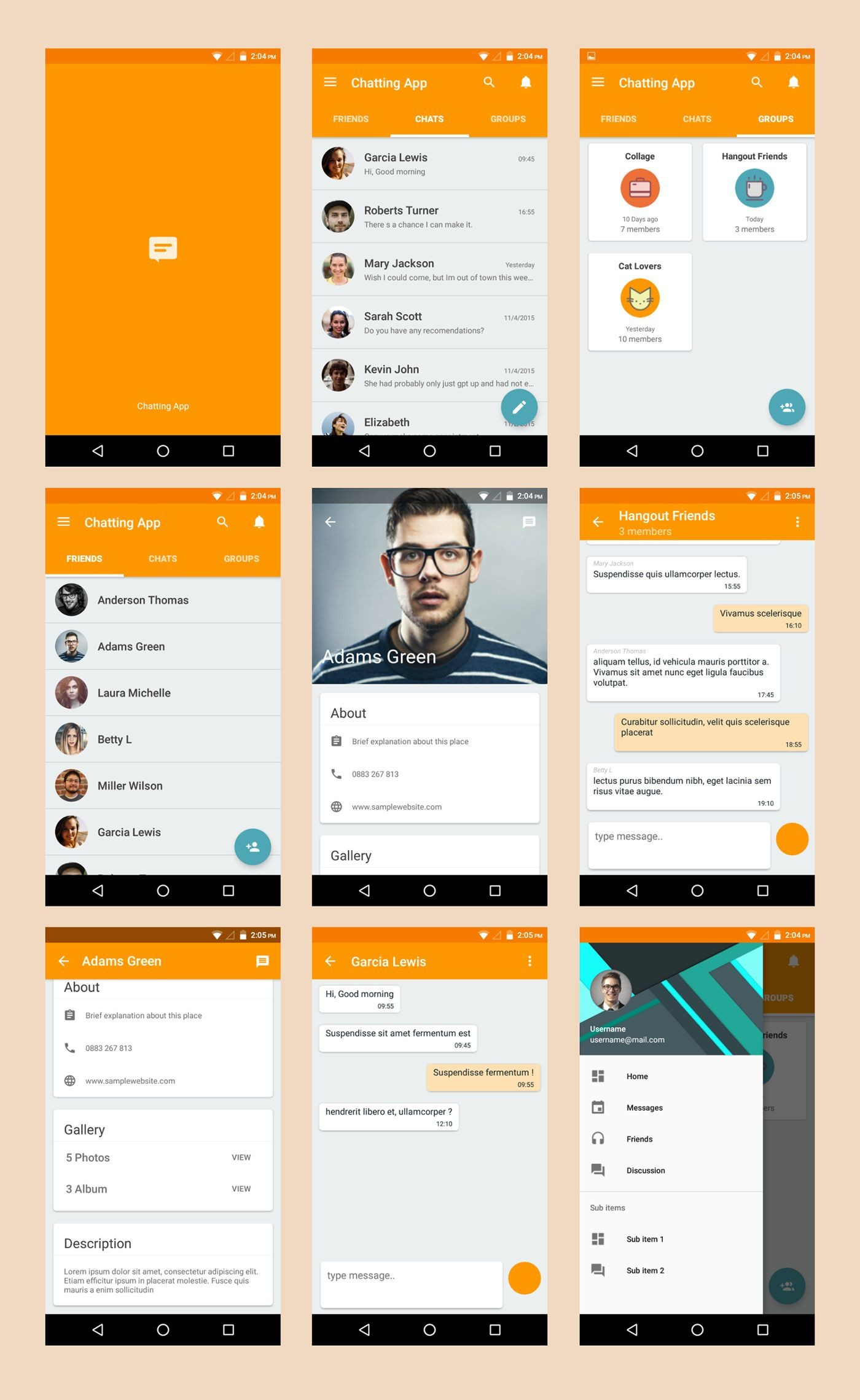 003 Singular Android App Design Template High Definition  Free Sketch Ui1400