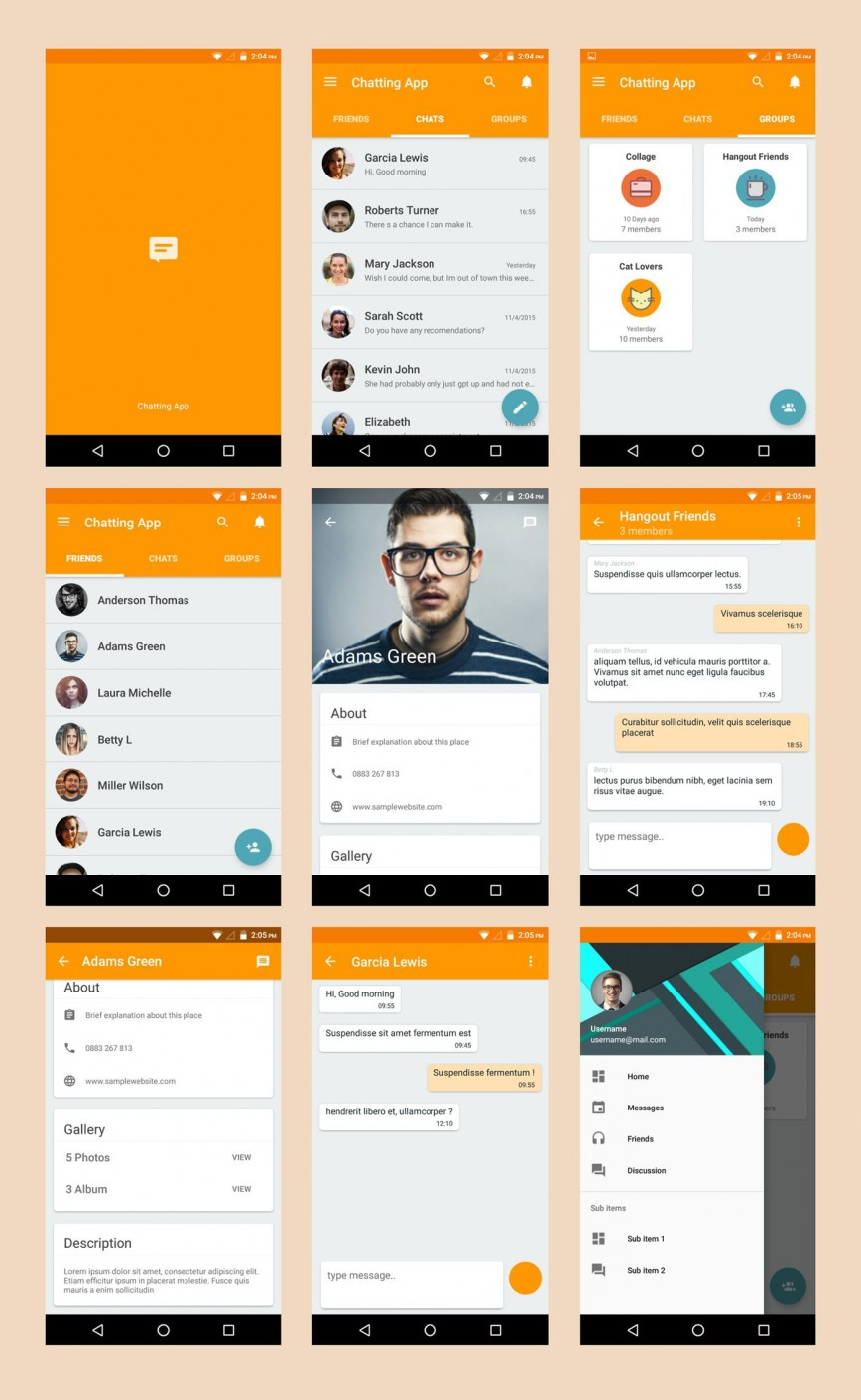 003 Singular Android App Design Template High Definition  Free Sketch Ui868