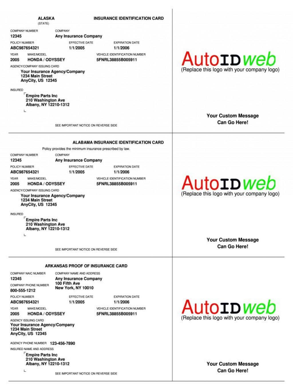 003 Singular Auto Insurance Card Template Pdf High Definition  Car Fake Geico FillerLarge