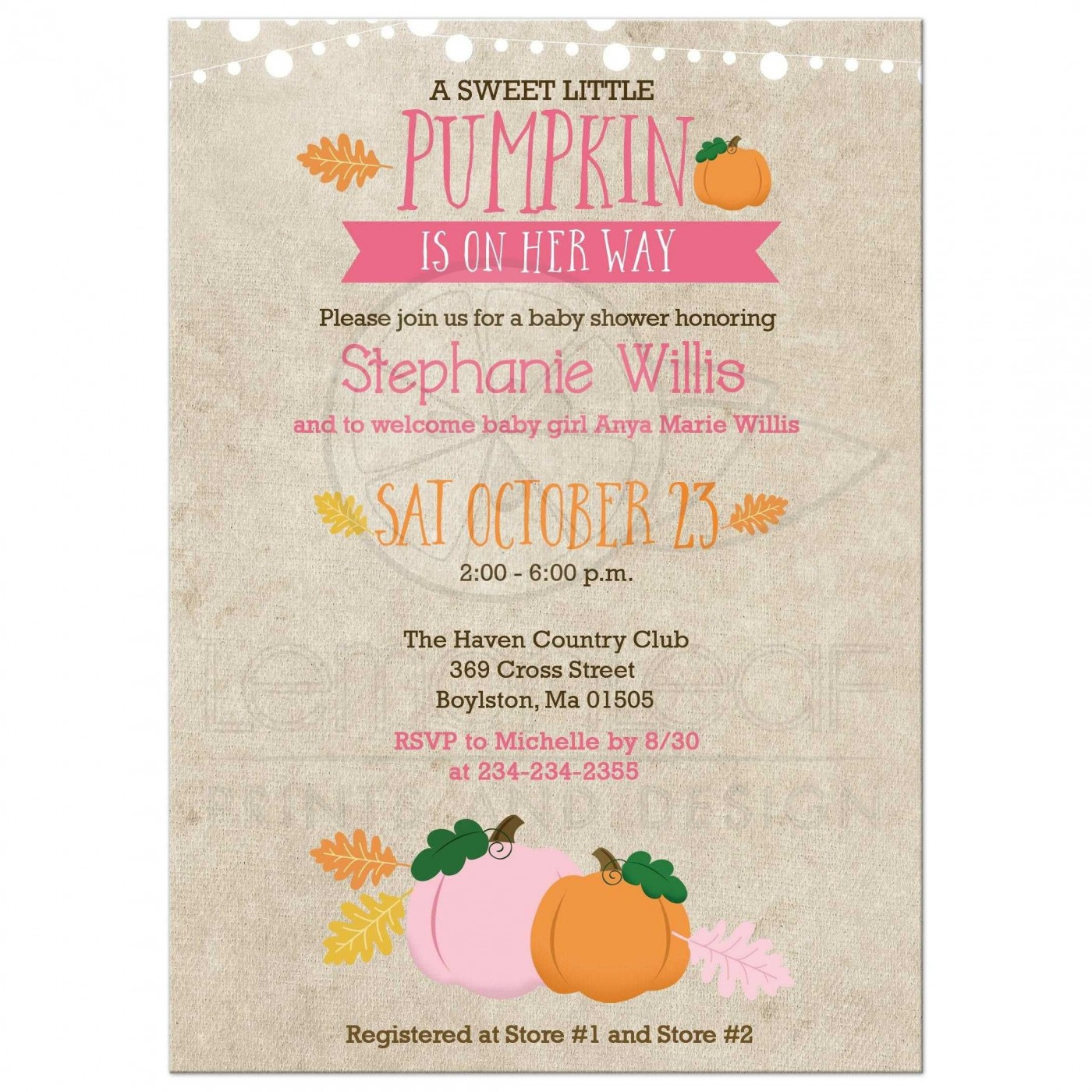 003 Singular Baby Shower Invitation Girl Pumpkin Photo  Pink Little1400
