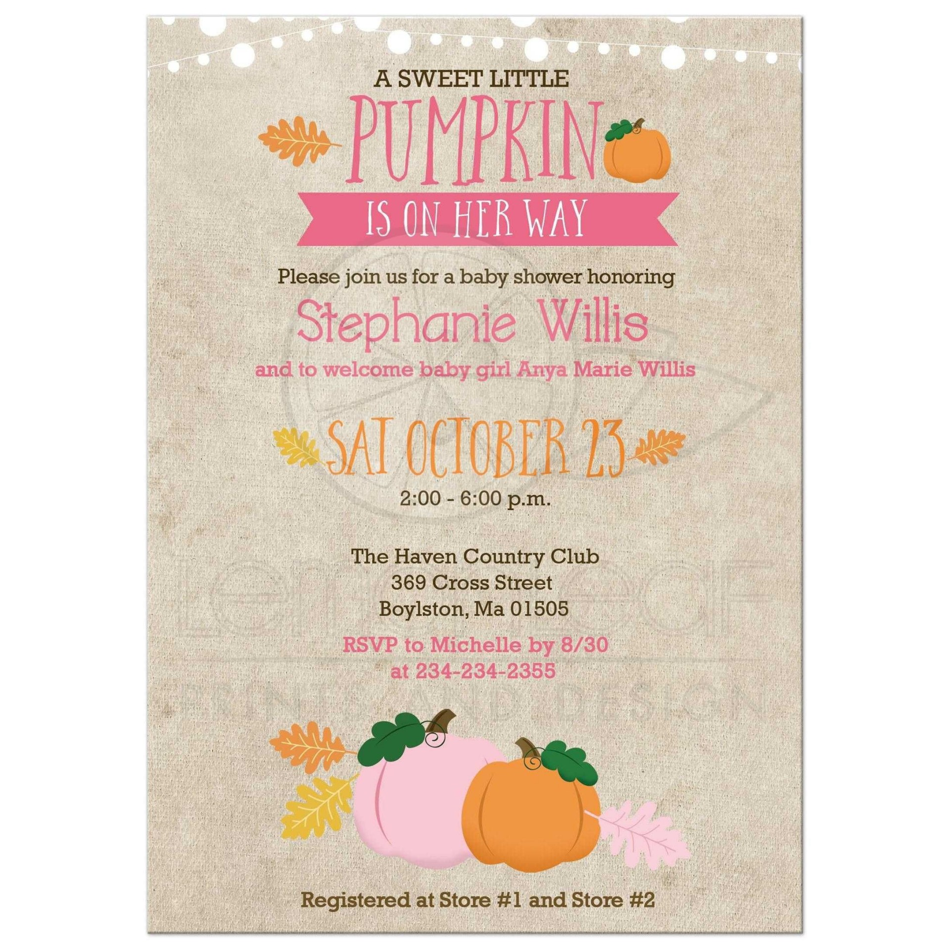 003 Singular Baby Shower Invitation Girl Pumpkin Photo  Pink Little1920