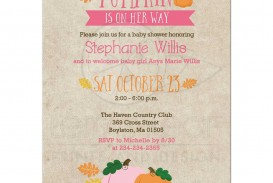 003 Singular Baby Shower Invitation Girl Pumpkin Photo  Pink Little