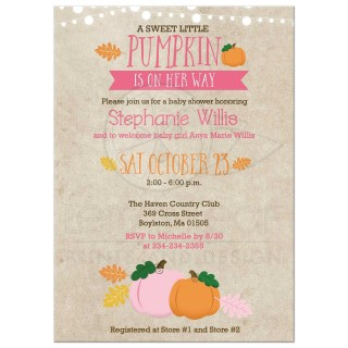 003 Singular Baby Shower Invitation Girl Pumpkin Photo  Pink Little320