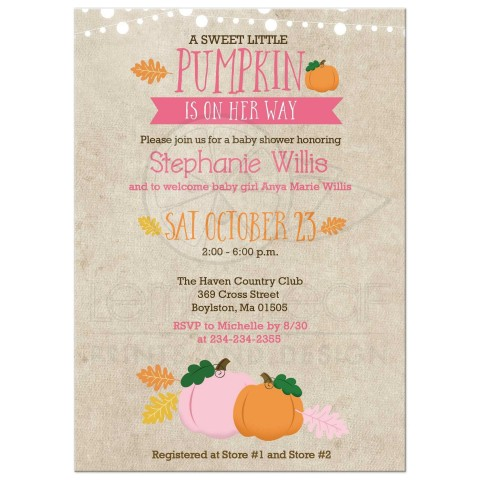 003 Singular Baby Shower Invitation Girl Pumpkin Photo  Pink Little480