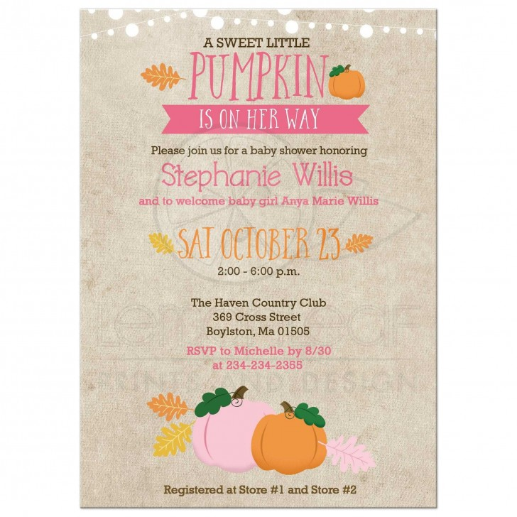 003 Singular Baby Shower Invitation Girl Pumpkin Photo  Pink Little728