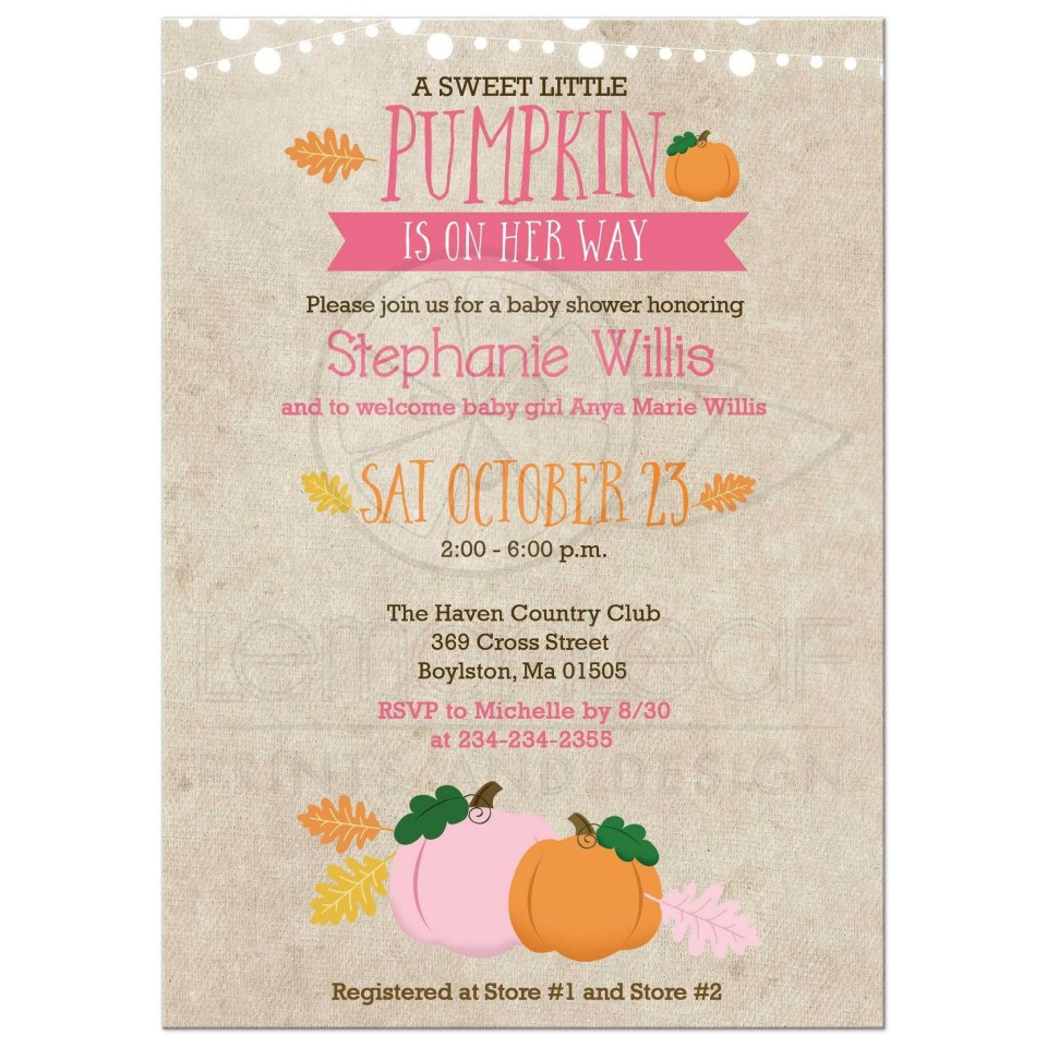 003 Singular Baby Shower Invitation Girl Pumpkin Photo  Pink Little960