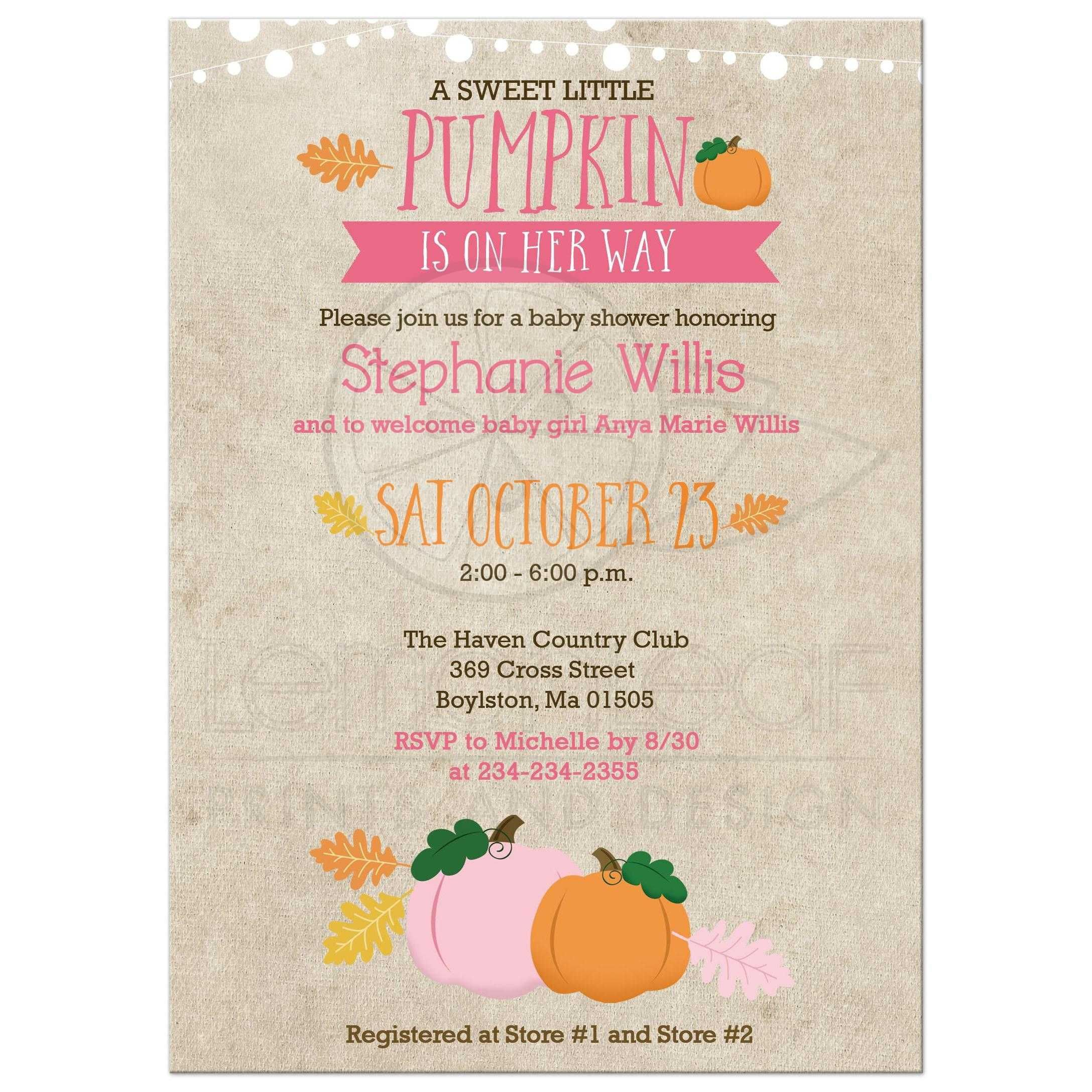 003 Singular Baby Shower Invitation Girl Pumpkin Photo  LittleFull