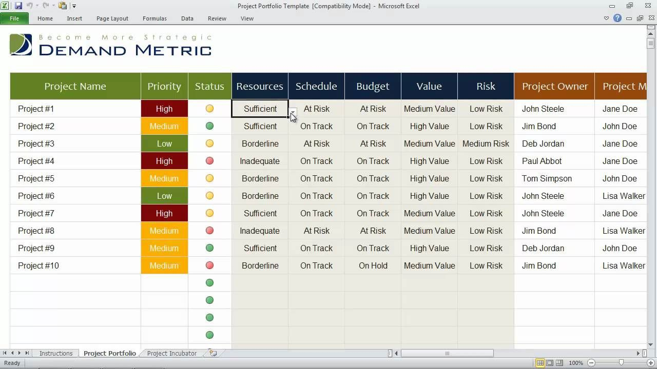 003 Singular Excel Template Project Management Idea  Portfolio Dashboard Multiple FreeFull