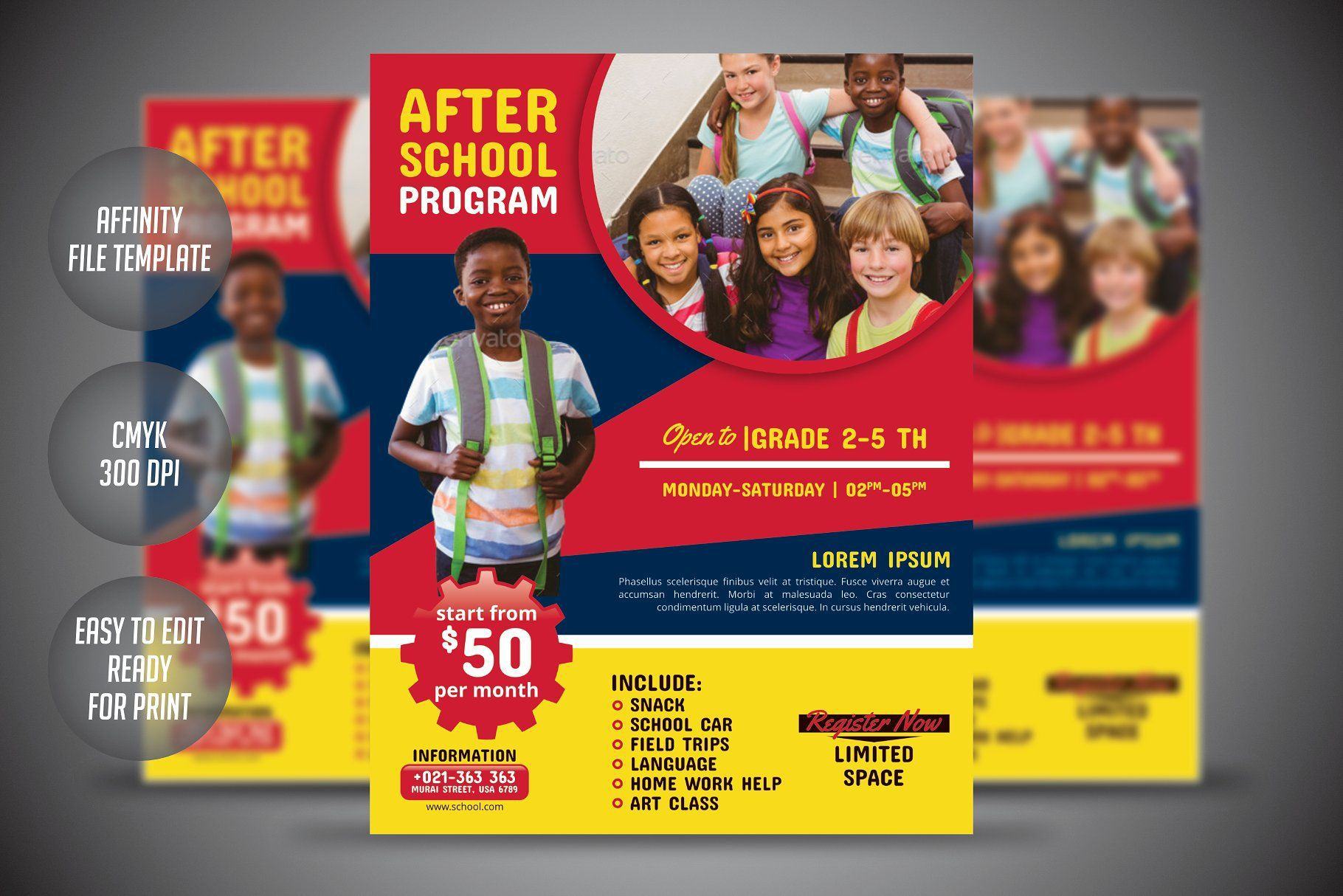 003 Singular Free After School Program Flyer Template Concept Full