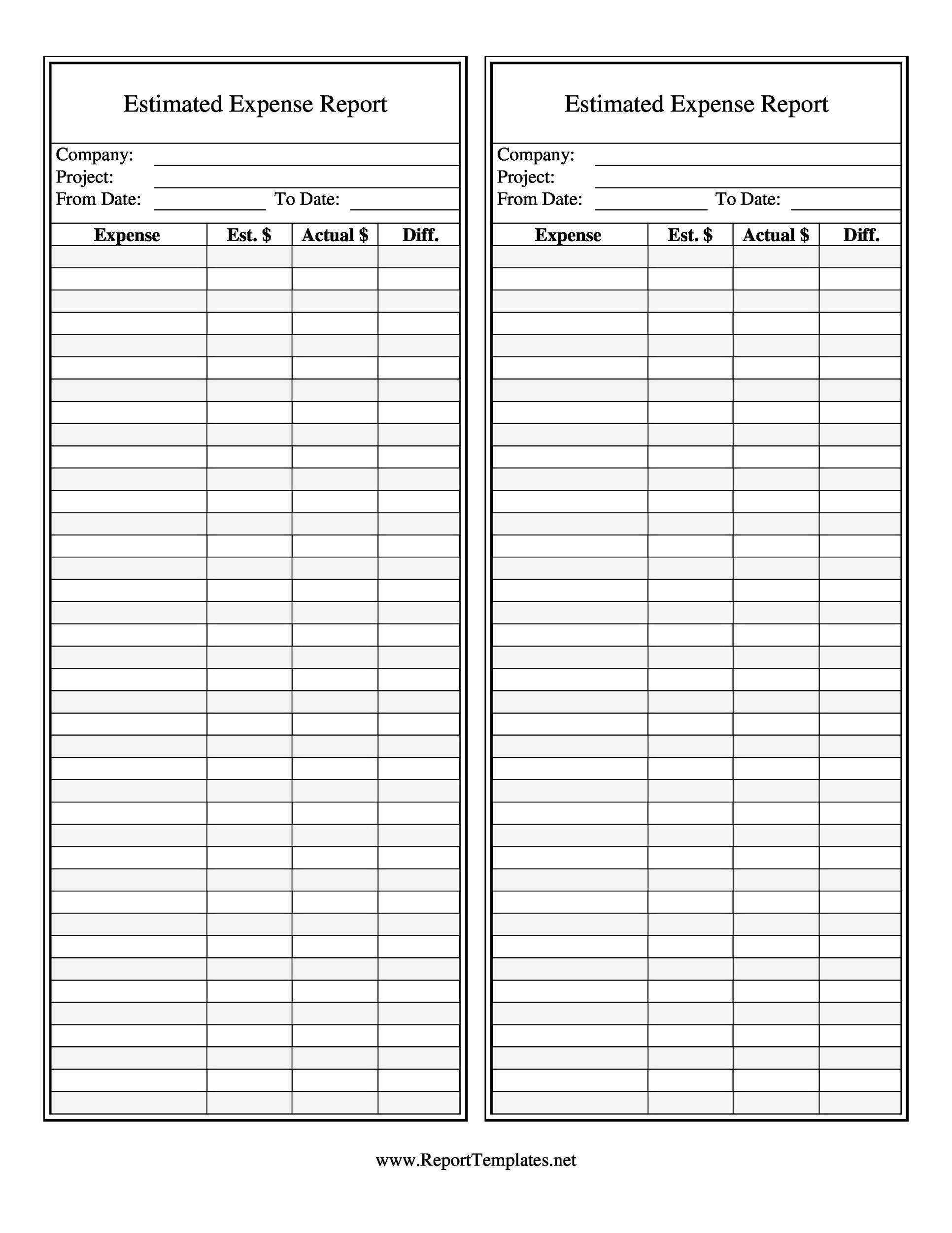 003 Singular Free Blank Expense Report Form Highest Quality  Forms TemplateFull