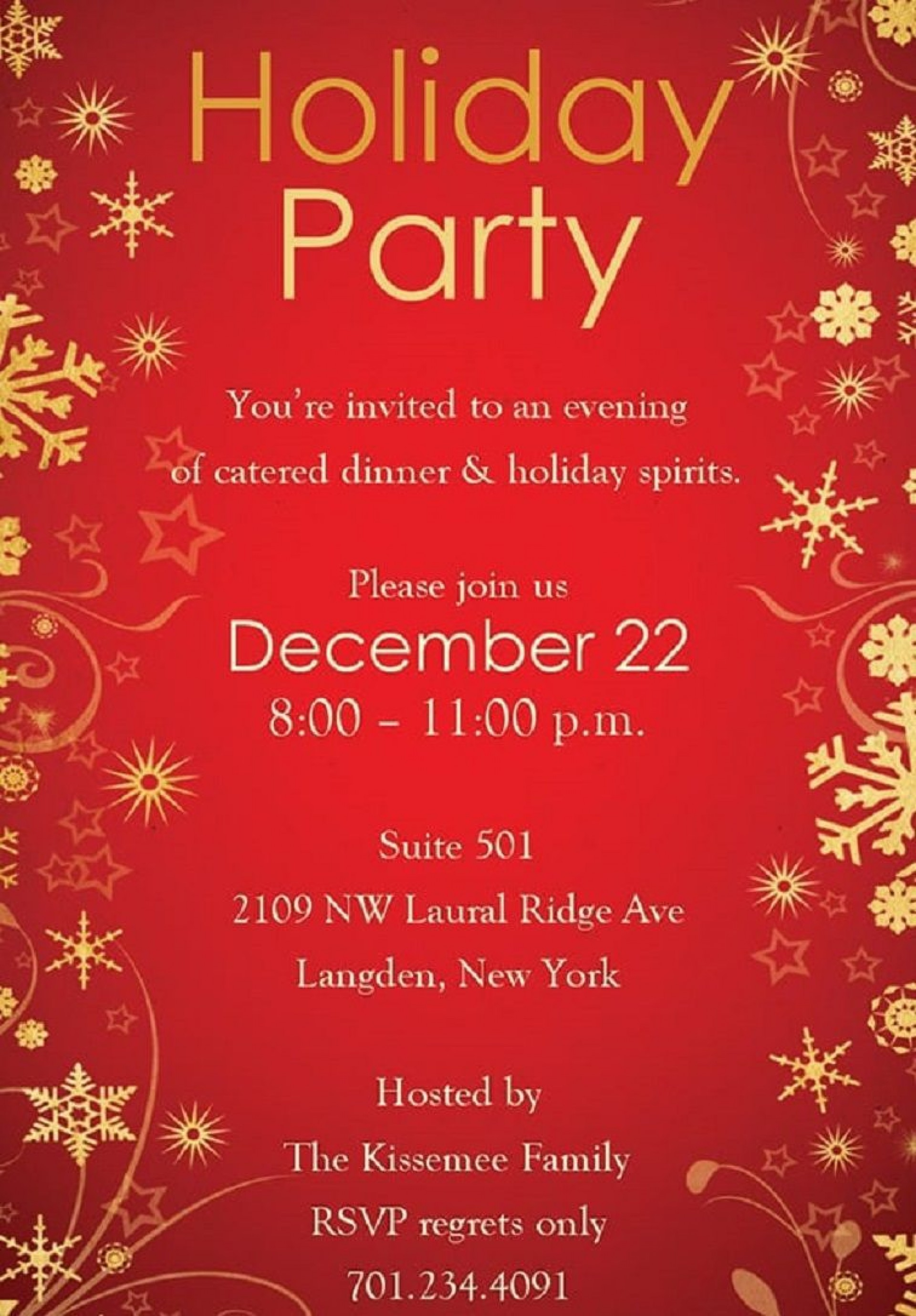 003 Singular Free Holiday Invite Template Example  Templates Party Ticket For Email1920