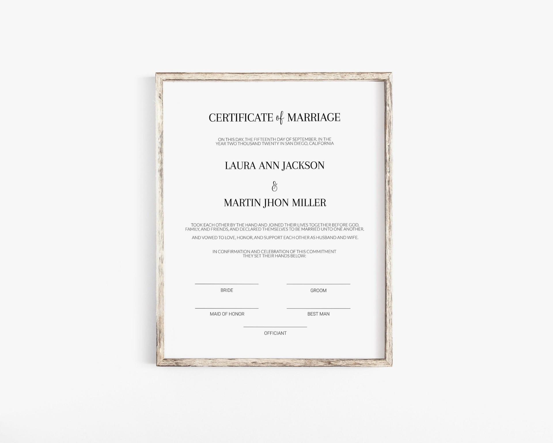 003 Singular Free Marriage Certificate Template Sample  Fillable Wedding Download Renewal1920