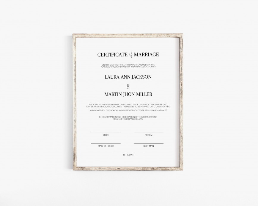003 Singular Free Marriage Certificate Template Sample  Wedding Download Fillable