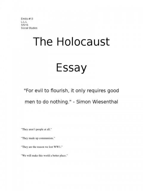 003 Singular Holocaust Essay Design  Thesi Hook Contest 2020480