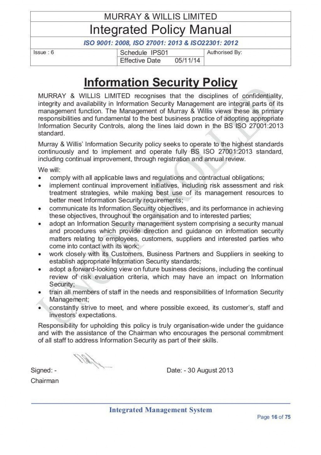 003 Singular Information Security Policy Template High Resolution  It Sample Pdf Uk Gdpr For Small Busines AustraliaLarge