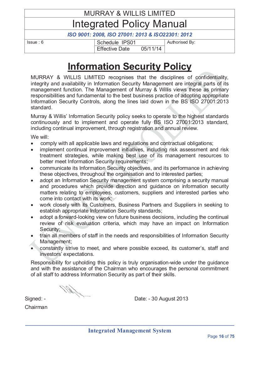 003 Singular Information Security Policy Template High Resolution  It Sample Pdf Uk Gdpr For Small Busines AustraliaFull