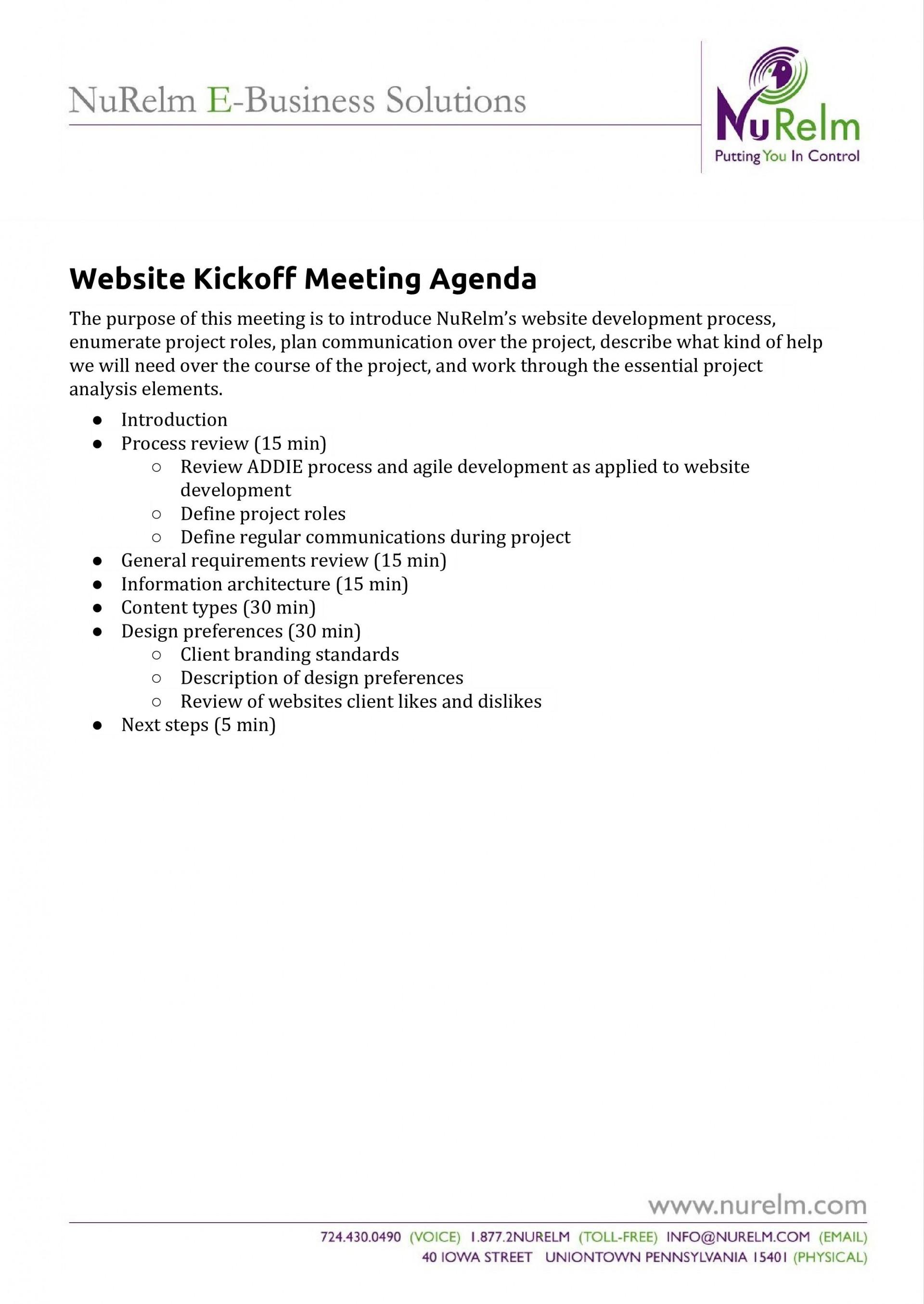 Kick Off Meeting Template Addictionary