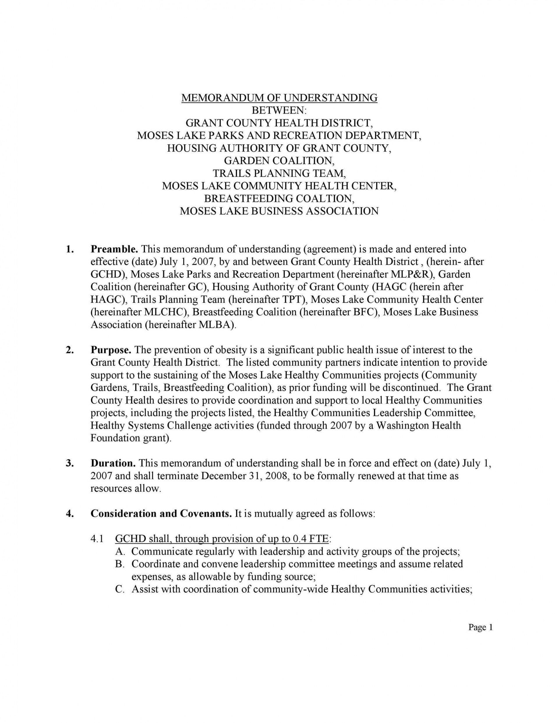 003 Singular Letter Of Understanding Format Highest Clarity  Sample Memorandum1920