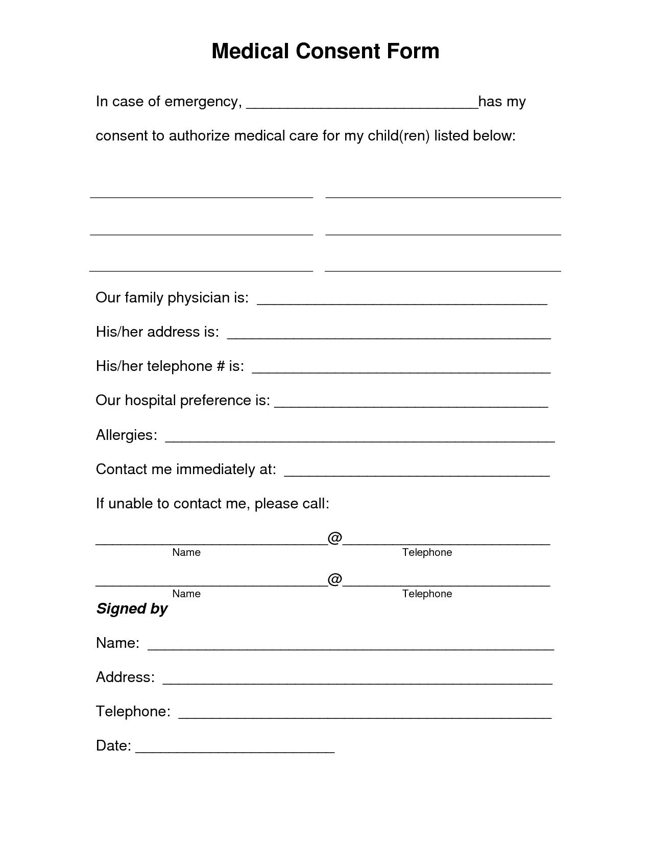 003 Singular Medical Release Form Template Idea  Free Consent Uk For MinorFull