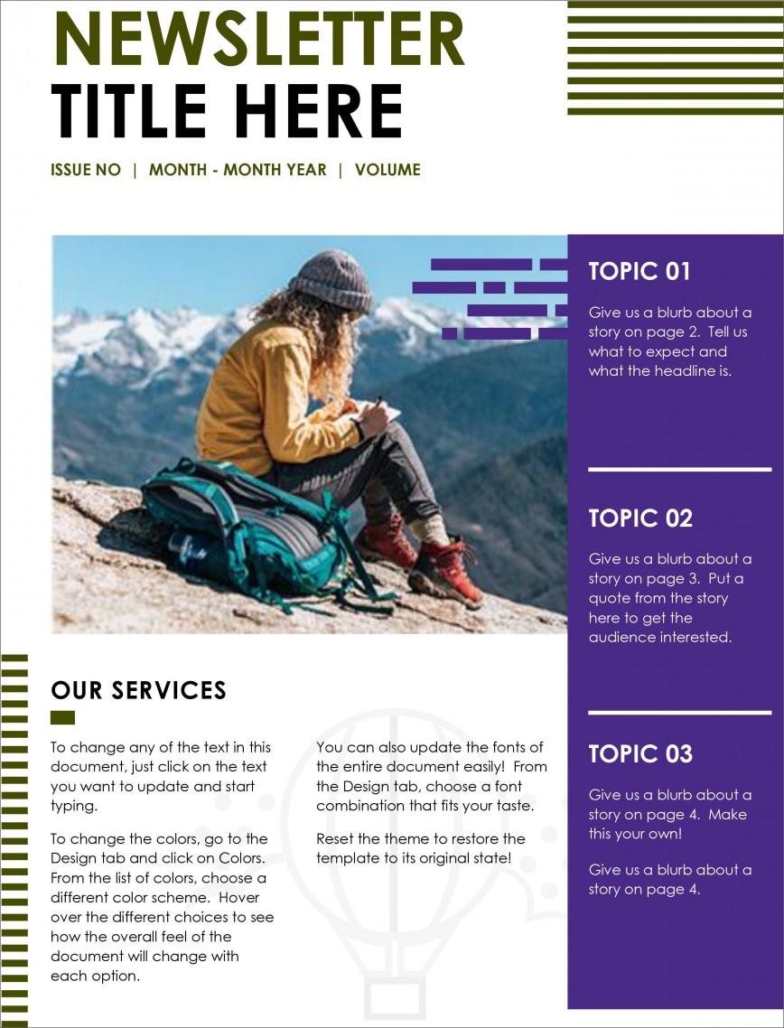 003 Singular Microsoft Word Template Newsletter High Resolution  Email M Office