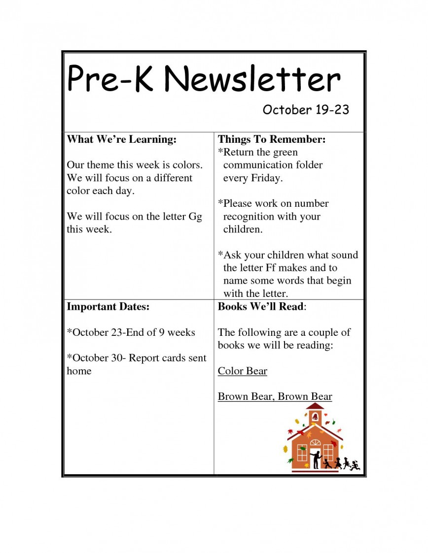 003 Singular Pre K Newsletter Template High Resolution  Templates Free Printable Classroom Monthly