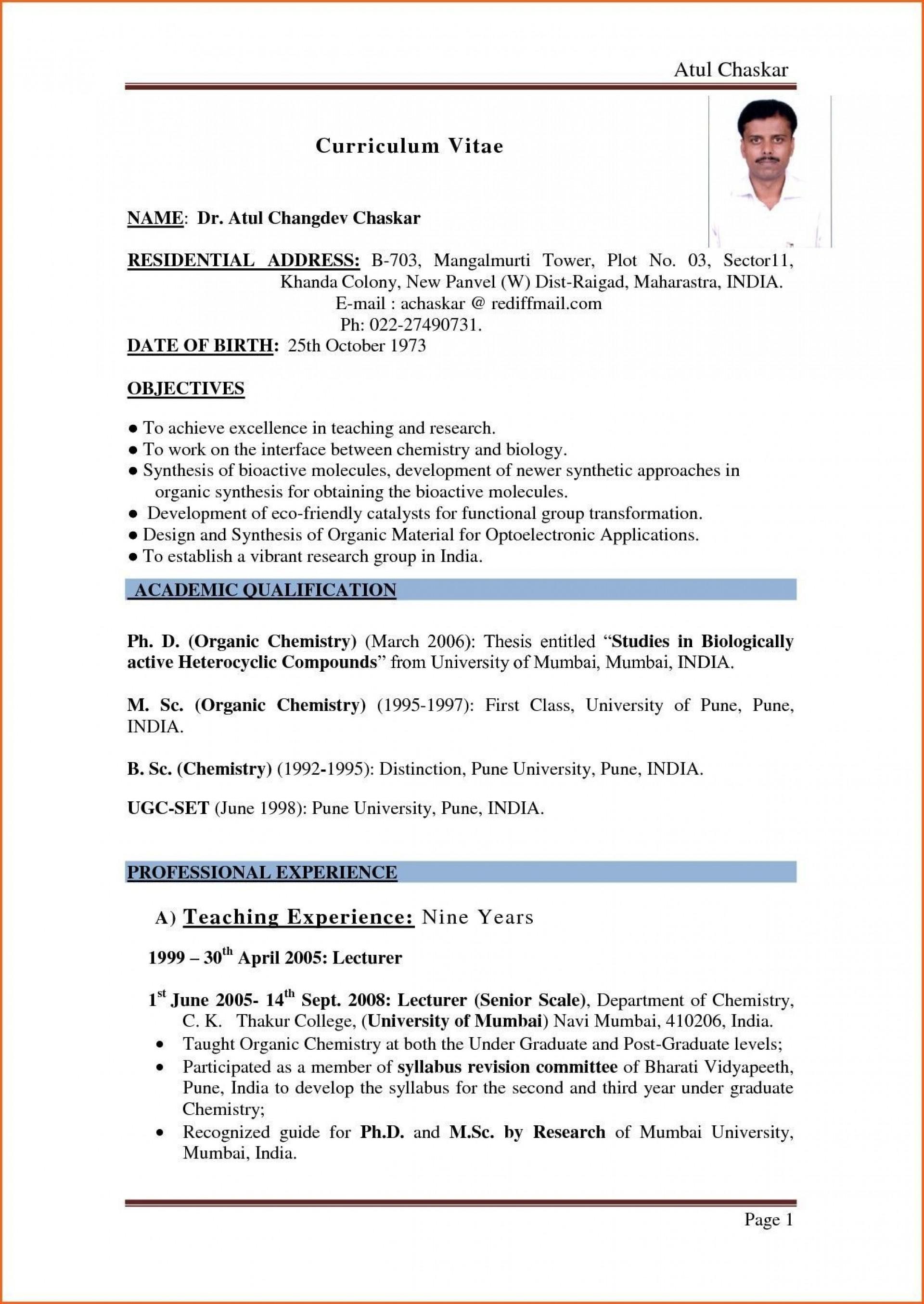003 Singular Resume Sample For Teaching Job In India Image  School Principal Position1920