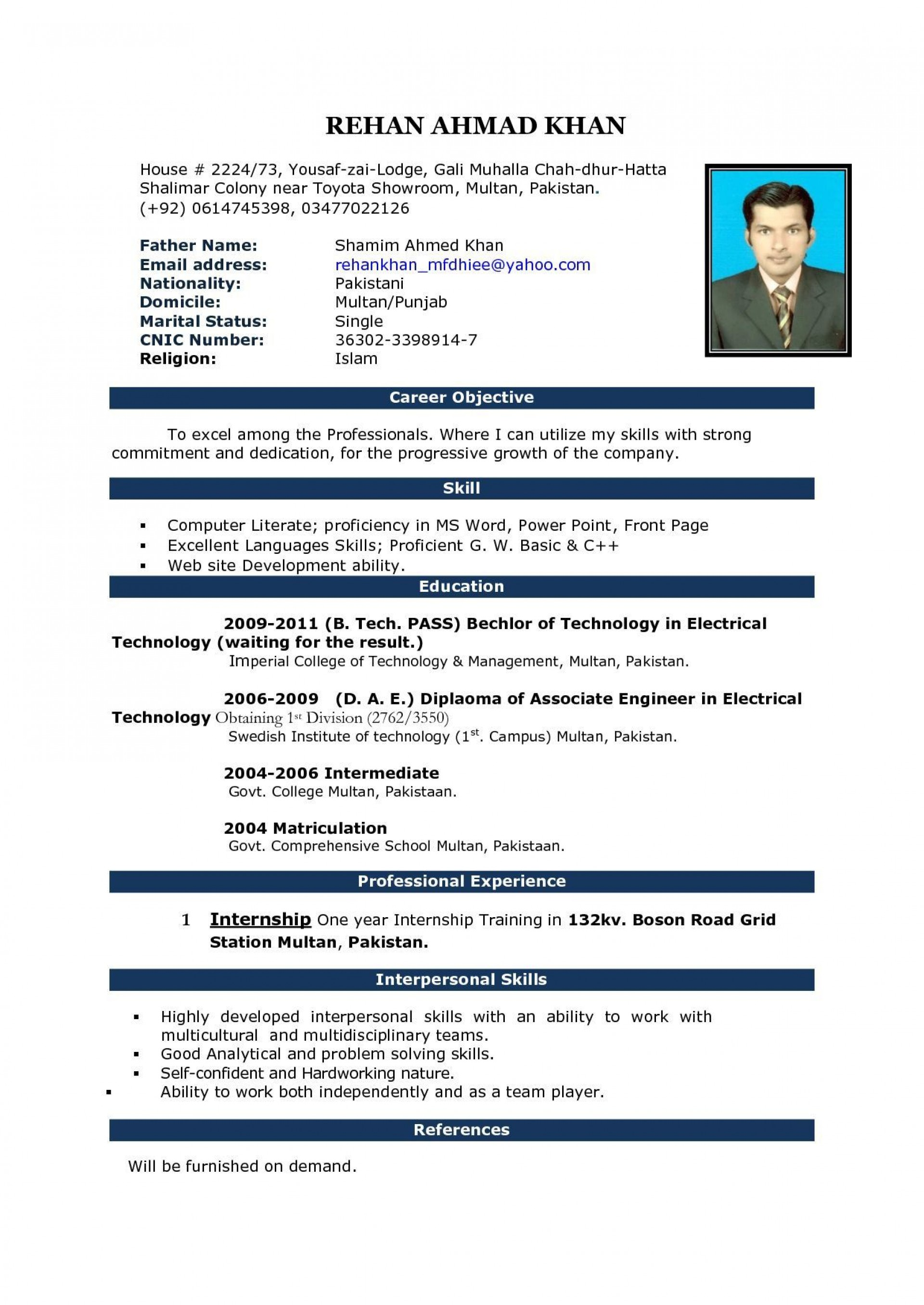 003 Singular Simple Resume Template Download In M Word Inspiration 1920